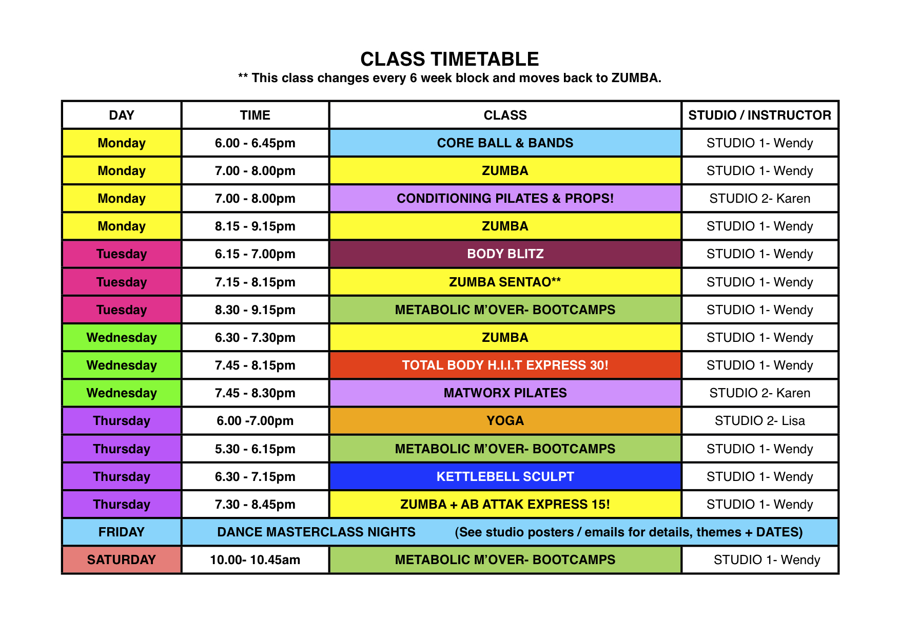 WHF JAN '13 TIMETABLE | Wendy Hollands Fitness Studios