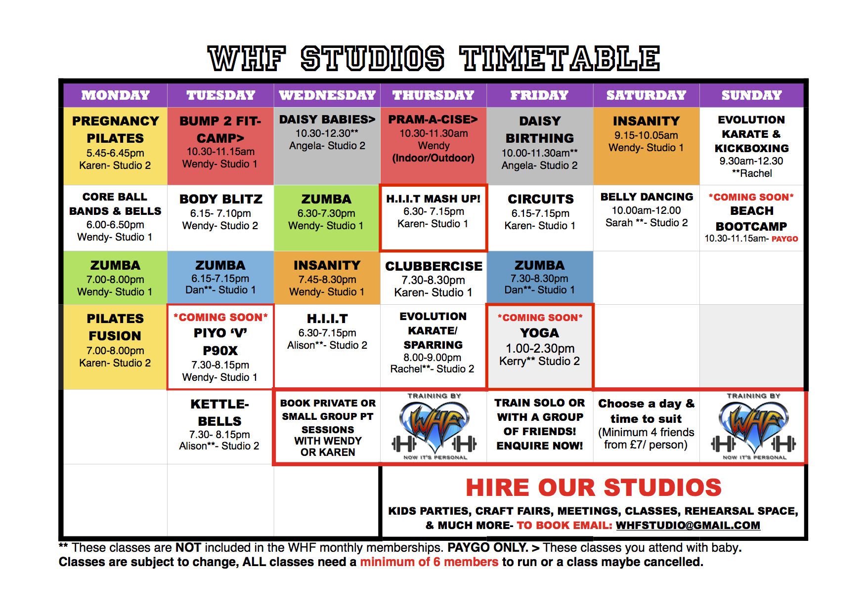 Wendy Hollands Fitness – Class Timetable